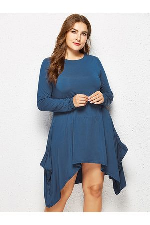 YOINS Plus Size Lake Pocket Design Asymmetrical Hem Dress