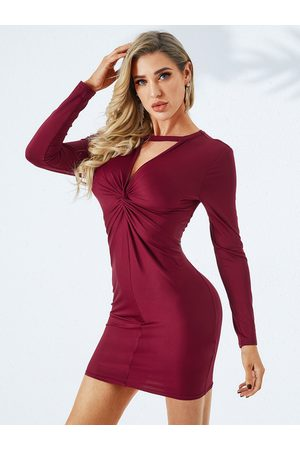 YOINS Burgundy Cut Out Round Neck Long Sleeves Bodycon Dress