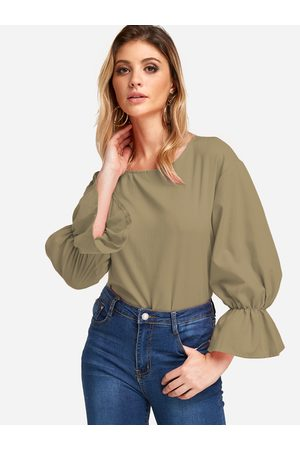 YOINS Army Flared Long Sleeves Fashion Girls Blouse