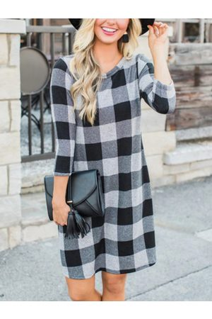 YOINS Check Round Neck Long Sleeves Dress