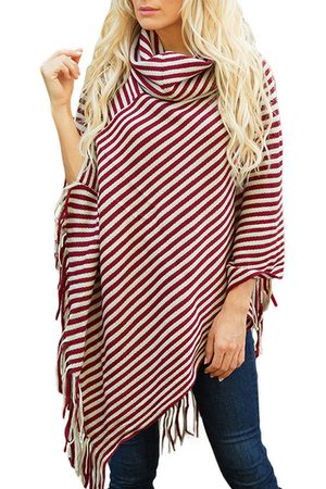 YOINS Stripe Tassel Details Cowl Neck Cape Sweater