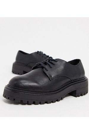 ASOS Wide Fit Money chunky lace up flat shoes in black