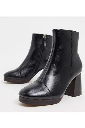 ASOS Wide Fit Rhona platform boots in black