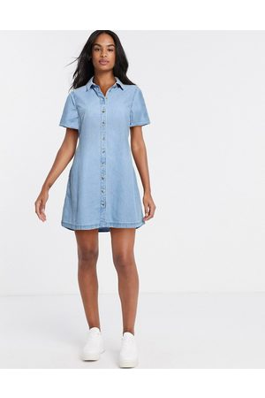 ASOS Soft denim smock shirt dress in midwash blue