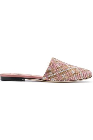 MARCO DE VINCENZO Check-crystal slippers