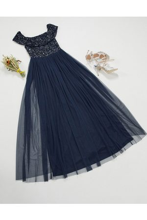 Maya Bridesmaid bardot maxi tulle dress with tonal delicate sequins in navy
