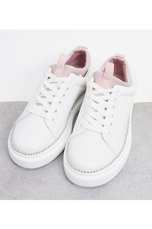 ASOS Wide Fit Varied chunky lace up trainers in white/pink