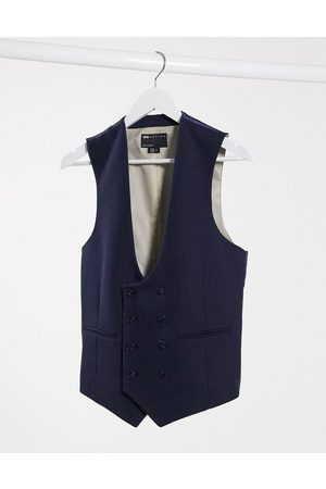 ASOS Wedding super skinny wool mix suit waistcoat in navy herringbone