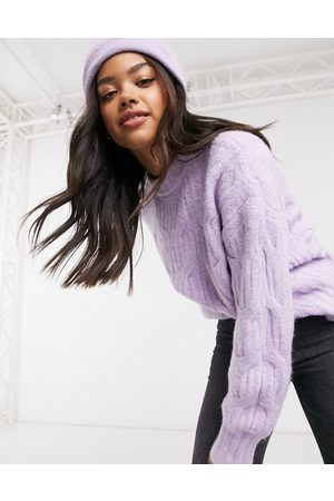 Urban Bliss Balloon sleeve cable knit jumper in purple
