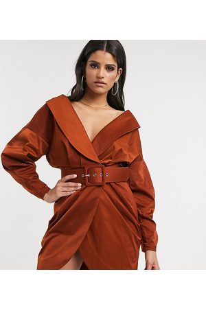 ASOS ASOS DESIGN Tall off shoulder ruched belted tux mini Dress in Rust