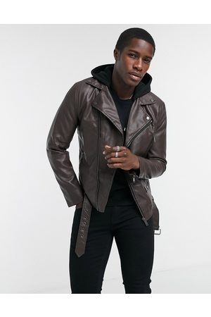 River Island PU biker in brown
