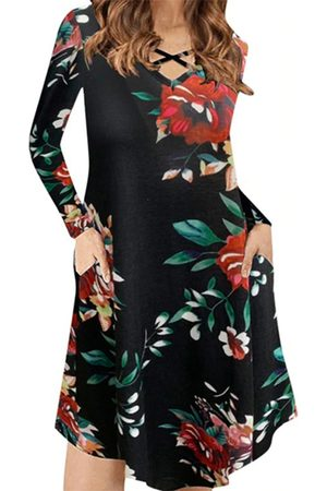 YOINS Casual Random Floral Print V-neck Criss-cross Long Sleeves Dress