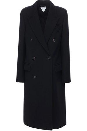 Bottega Veneta Abrigo Cuzado De Lana Compacta