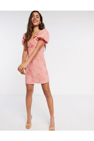 River Island Ruched tie printed mini tea dress in red