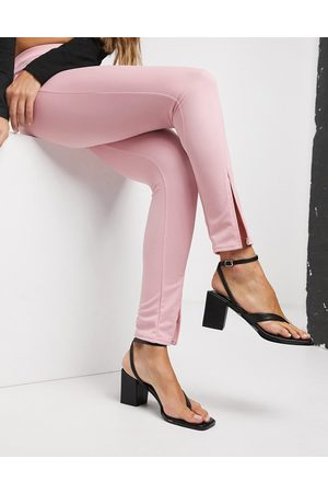Fashionkilla Split front slim trouser in pink