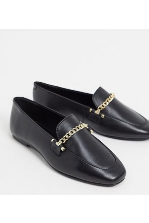 ASOS Wide Fit Minute leather chain loafers in black