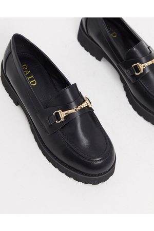 Raid Empire chunky loafers in black with gold snaffle