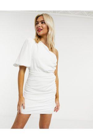 John Zack Mujer Cortos - One shoulder puff sleeve mini shift dress in white