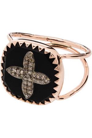 Pascale Monvoisin Anillo Bowie No 3 con detalle de cruz en oro rosa de 9kt con diamantes