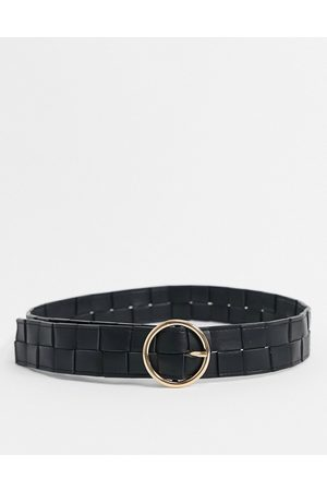 My Accessories London waist and hip jeans woven belt with circle buckle in black