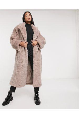 ASOS Faux fur hero longline maxi coat in mauve