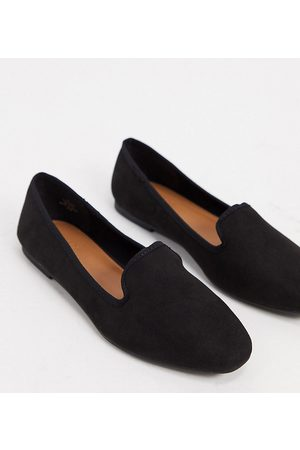 ASOS Wide Fit Lakeside slipper ballet flats in black