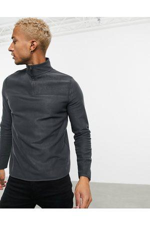 ASOS Hombre Con capucha - Polar fleece sweatshirt with half zip in charcoal grey