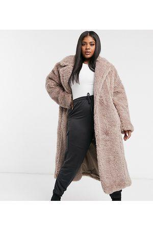 ASOS ASOS DESIGN Curve faux fur hero longline maxi coat in mauve