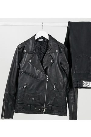 Reclaimed Vintage Inspired oversized leather biker jacket