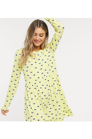 Wednesday's Girl Long sleeve smock dress in yellow floral