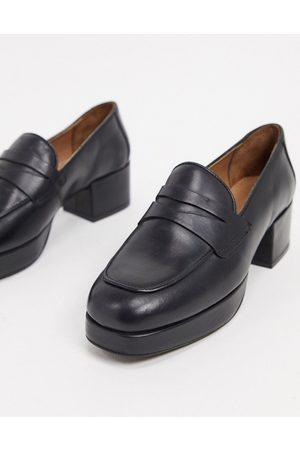 ASOS Maximise premium leather platform loafers in black