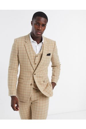 ASOS Wedding skinny wool mix suit jacket in camel houndstooth check