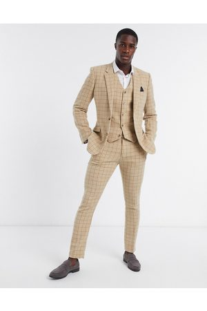 ASOS Wedding skinny wool mix suit waistcoat in camel houndstooth check