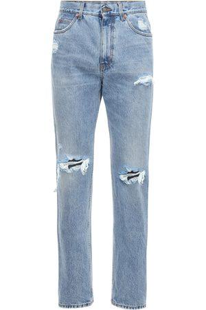 Gucci Jeans De Denim De Algodón Desgastados 21cm