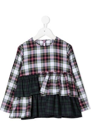 Il gufo Tartan print layered top