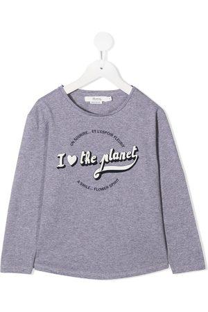 BONPOINT Niña Tops - Slogan print long-sleeve top