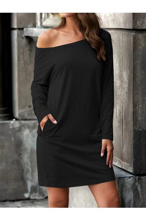 YOINS Mujer Maxi - Black Side Pockets One Shoulder Long sleeves Dress