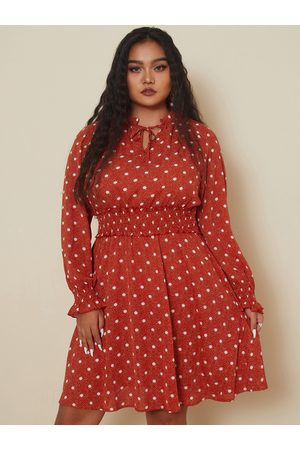 YOINS Plus Size Crew Neck Polka Dot Tie-up Design Long Sleeves Dress