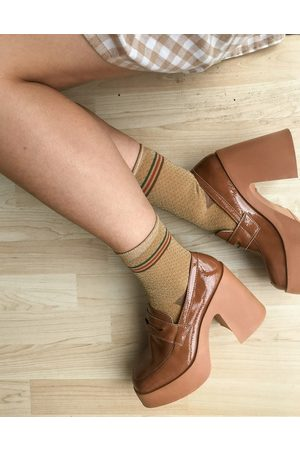 ASOS Profile chunky high heeled loafer in tan
