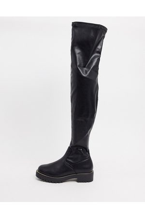 ASOS Kate flat over the knee boots in black