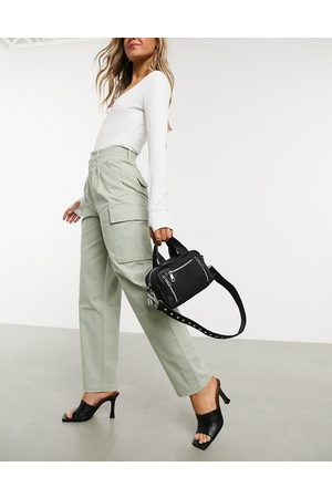 ASOS Pleat front chino with cargo pockets in sage