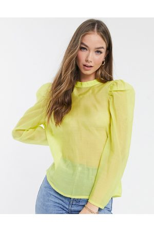 Vero Moda Mujer Blusas - Aware organza blouse with bow tie back in yellow