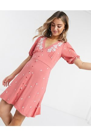 ASOS Mini tea dress with flower embroidery in rose