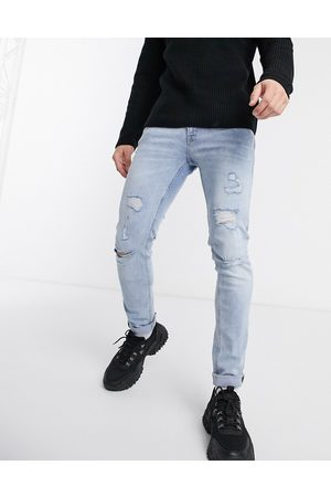 Jack & Jones Intelligence Liam skinny fit super stretch abrasion jeans in light wash