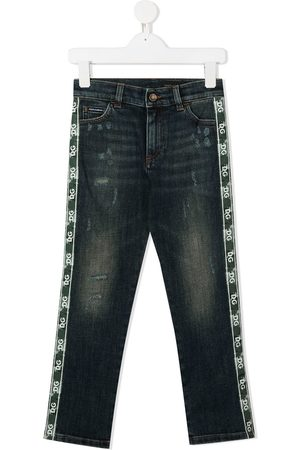 Dolce & Gabbana Jeans - Logo-stripe distressed jeans