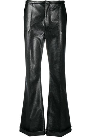 Serafini High-rise coated kick-flare trousers