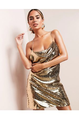 ASOS ASOS LUXE cowl neck all over sequin mini cami dress in gold