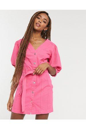 ASOS Denim multi stitch belted dress in bright pink