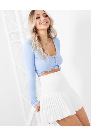 Femme Luxe Pleated skater skirt in white