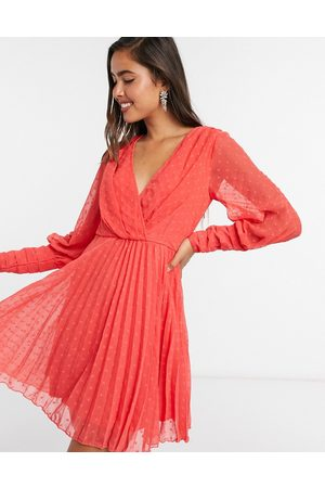 ASOS Pleated wrap mini dress in dobby spot with pin tuck sleeves in red